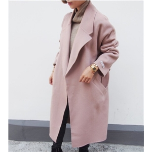 Pink Long Sleeve Tie-Waist Woolen Coat