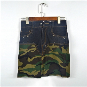 High-waist Flash Stitching Camouflage Denim Skirt