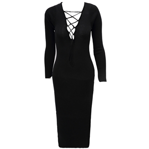 Club Style Cross-Strap Long-Sleeved Knit Dress