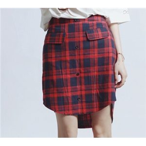 Cotton Irregular Design Plaid Skirt