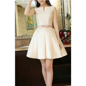 V-neck Sleeveless White Pleated Party Dress