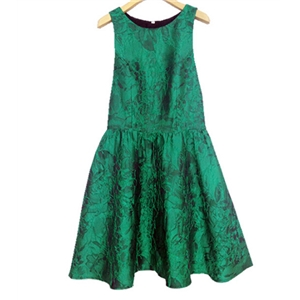 Green Open Back Jacquard Sleeveless Dress