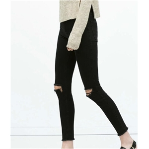 High Waist Deckle Edge Nine Point Jean Pant