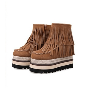 Casual Tassel Matte Thick Heel Slope Boots