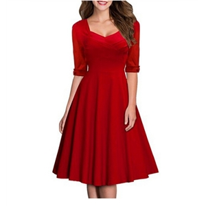 V-neck Half Sleeve High Waist Pleated Dress