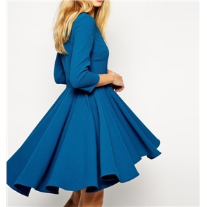 Blue 7-Sleeve Large Swing Dovetail Pleated Dress