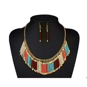 Bohemian Hand-woven Tassel Necklace Set