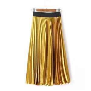High Waist Metallic Luster Sequins Pleated Skirt