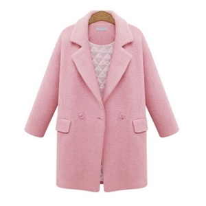 Pink Woolen Winter Coat With Pockets