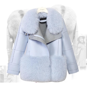Sky Blue Fur Collar Short Section Woolen Coat