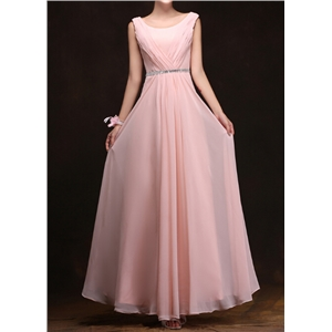 Pink Long Section Bridesmaid Party Dress