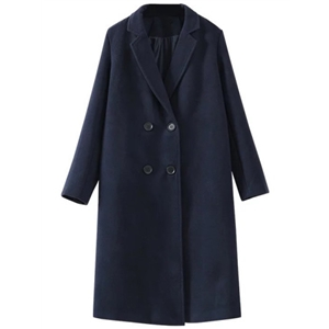 Navy Double Breasted Patch Wool Blend Coat