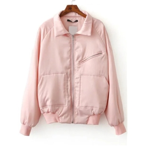 Pink Raglan Sleeve Zipper Up Quilted Jacket