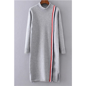 Semi-high Neck Splicing Color Long Section Sweater Dress