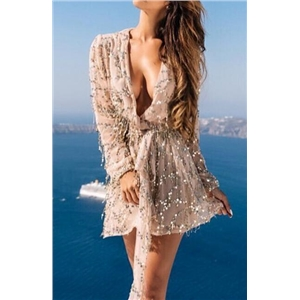 V-neck Tassel Sequins Party Dress