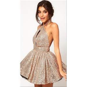 Hanging Neck Sequined Pleated Party Dress
