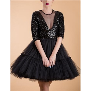 Sequin Perspective Lace Princess Puff Dress