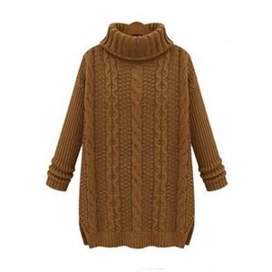 Khaki High Neck Cable Knit Loose Sweater