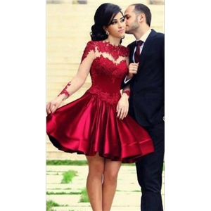 Deep Red Lace Stitch Perspective Pleated Dress