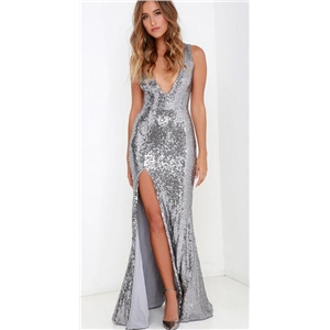 High Waist Sequined V-neck Open Back Split Long Dress
