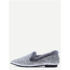 Silver Sequin Point Toe Faux Fur Lined Flats