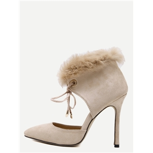 Apricot Faux Suede Point Toe Faux Fur Cuff Heels