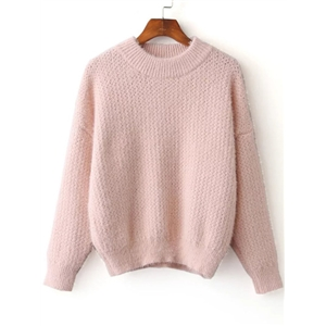 Pink Ribbed Trim Crew Neck Sweater