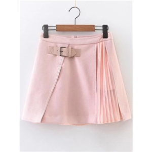 Pink Pleated A Line Suede Skirt With Buckle