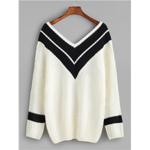 White Contrast Double V Neck Sweater