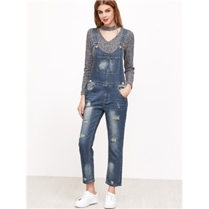Blue Strap Bleached Ripped Overall Jeans