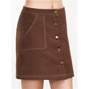 Khaki Single Breasted A-Line Skirt With Stitch Detail