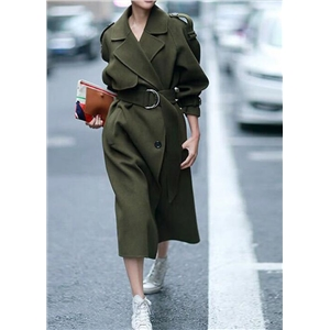 Double Breasted Medium-length Woolen Coat
