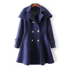 Detachable Cape Woolen Coat