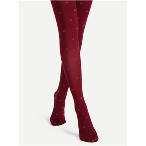 Burgundy Butterfly Pattern Jacquard Pantyhose Stockings