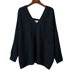 Navy V Neck Lace Up Back Drop Shoulder Sweater