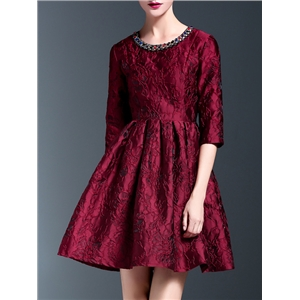 Red Beading Disc Flowers A-Line Dress