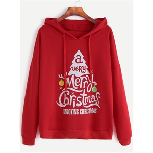 Red Christmas Print Drop Shoulder Drawstring Hooded Sweatshirt