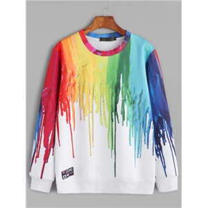 White Paint Drip Print Sweatshirt