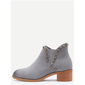 Grey Genuine Leather Distressed Rivet Chelsea Boots