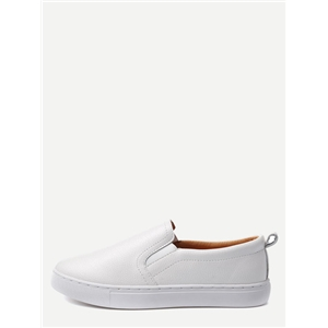White PU Slip On Plimsolls