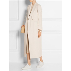 Long Loose Double Breasted Wool Coat