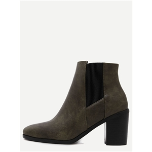 Green PU Square Toe Chelsea Boots