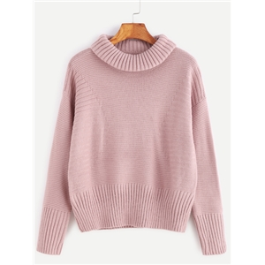 Pink Roll Neck Drop Shoulder Ribbed Knit  Sweater
