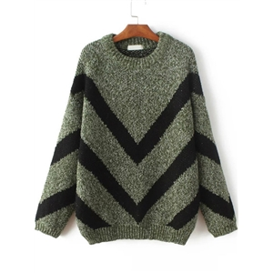 Army Green Chevron Pattern Ribbed Sweater