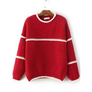 Red Contrast Trim Round Neck Sweater