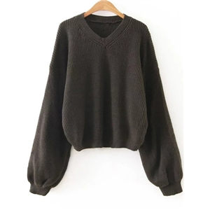 Dark Grey V Neck Lantern Sleeve Sweater