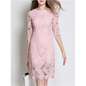 Pink Crochet Hollow Out Sheer Lace Dress