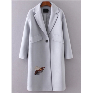 Grey Bee Embroidery Single Button Coat