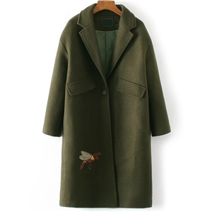 Army Green Bee Embroidery Single Button Coat