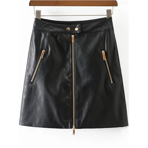 Black Zipper Detail PU Skirt